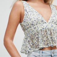 New Look Printed Lace Peplum Top at asos.com