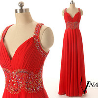 New Arrival Red Evening Dresses Wedding V Neck Open Back Sexy Beaded Unique Design Long Chiffon A Line Red Crystal Prom Dress 2014