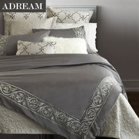 100% cotton 4pcs Bedding Set, Grey Embroidered Bedding, European style Duvet Cover Set, Comforter Cover For Queen King Size
