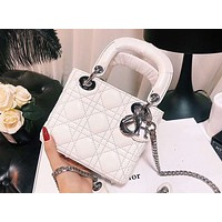DIOR 2018 new Diana bag single shoulder oblique strapless mini women's bag F-XM-LL White