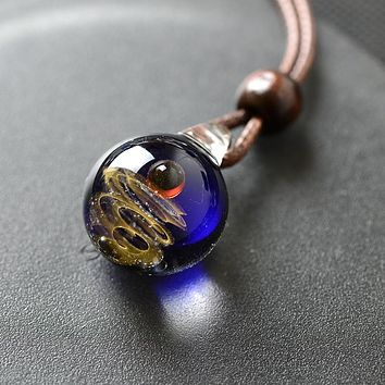 Glass Nebula Cosmic Handmade Galaxy double sided Pendant Necklace Men Women Couple Jewelry christmas presents Gift with Rope