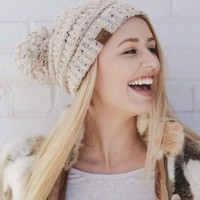 CC Boise Pom Pom Knit Beanie - More Colors.