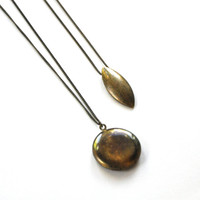 Brass Oval Pendant Necklace, Boho Necklace, Layered Necklace, Long Necklace, Teardrop Necklace
