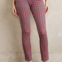 Sanctuary Cropped Plaid Trousers in Red Motif Size:
