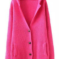 Rose Red Long Sleeve Front Button Knitted Sweater with Pocket