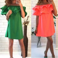 Women Fashion Sexy Casual Strapless Off Shoulder Elastic Ruffle Solid A-Line Short Party Evening Dress DL [4905488516]