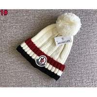 Moncler Autumn Winter Popular Women Men Warm Knit Hat Cap 1# White