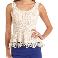 Lace Overlay Peplum Top: Charlotte Russe