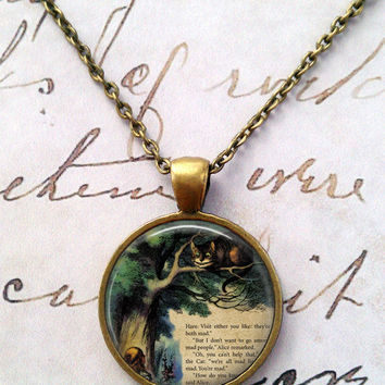 Alice In Wonderland Necklace, Cheshire Cat, Glass Necklace, We're All Mad Here, Wonderland, Steampunk, Once Upon a Time T599