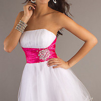 Short Prom Dress With Embellished Waistline