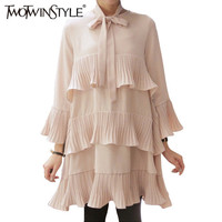 [TWOTWINSTYLE] Spring Korean Splicing Pleated Ruffles Plus Size Women Dresses With Sash Lace Up Cute Clothing Black Color New