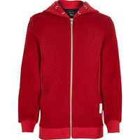River Island Boys red long sleeve quilted hoodie