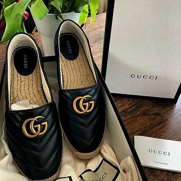 GUCCI women's models wild woven thick-bottomed muffin bottom casual fisherman shoes