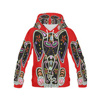 Mystical Sugar Skull Elephant Red All Over Print Hoodie for Women (USA Size) (Model H13) | ID: D1444572