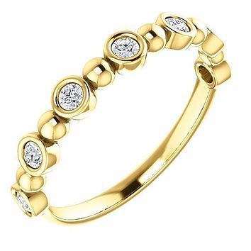 Round Diamond 1/2 Eternity Bezel-Set and Beaded 18K Yellow Gold Band