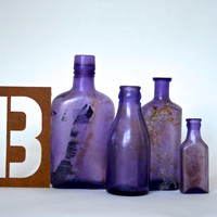 B is for Bottles - Vintage Sun Amethyst Bottles - Purple Glass