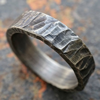 wide mens ring silver, silver wedding band rustic, cool mens ring, personalized mens ring, thick silver ring forged, bold silver ring rugged
