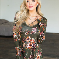 Only in My Dreams Floral Criss Cross Top Olive