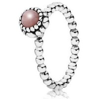 Authentic Pandora Jewelry - Birthday Blooms October w-Pink Opal Ring