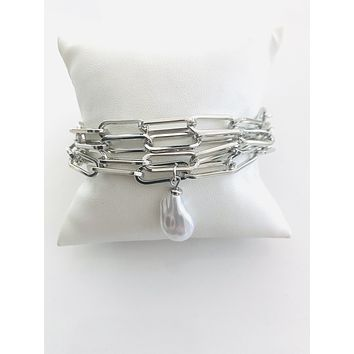 MULTI STRAND PAPERCLIP WITH BAROQUE PEARL BRACELET