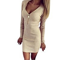 2018 Autumn Winter Women Mini Dresses Sexy Stretch Zipper Bodycon Dress Sexy Long Sleeve V-neck Knit Dress Party  Mujer