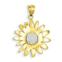 14k & Rhodium Sunflower Pendant K4821