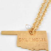 Oklahoma State Gold Necklace