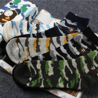 Bape Fashion new camouflage socks for couple long socks Five pairs Five color Green