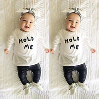 Baby Hold Me Shirt and Leather like Pants Outfit