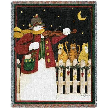 JOY TO THE WORLD CHRISTMAS  AFGHAN THROW BLANKET