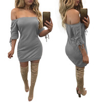 Gray Lace-up Sleeve Design Off Shouder Mini Dress