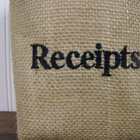 personalized burlap baskets - mail - receipts - misc - embroidered - custom - organize - organization - storage baskets - fabric organizer