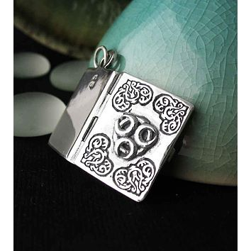 Book of Shadows Locket Pendant with Triple Crescent Moon