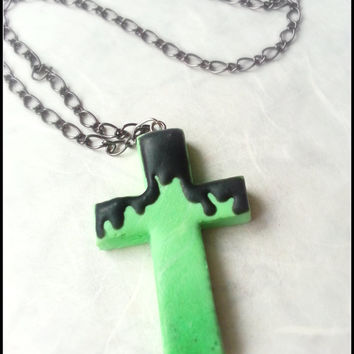 Creepy cute Pastel goth goo cross necklace, clay charm pendant, necklace perfect friendship, lover gift goth style green cross