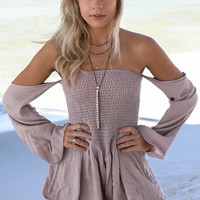 Off The Charts Taupe Off The Shoulder Romper
