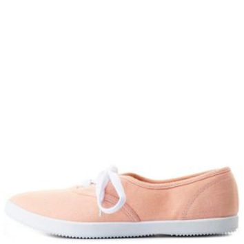 Qupid Pointed Toe Canvas Sneakers by