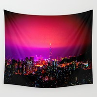 City Skyline Wall Tapestry by 2sweet4words Designs