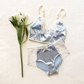 Baby Blue Bridal Lingerie 'Sky' Satin and Lace Hipster Boyleg Panties and Cropped Camisole Handmade by Ohh Lulu