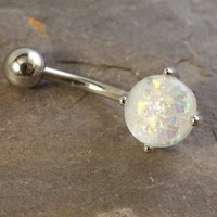 White Fire Opal Belly Button Jewelry Ring Synthetic Opal