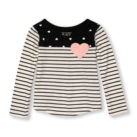 Toddler Girls Long Sleeve Heart Pocket Stripe And Heart Split-Print Top | The Children's Place