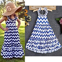 2016 Baby Girls Summer Dress Kids Wave Stripe Boho Maxi Long Sundress Party Dress Baby Girl Sleevless Dress