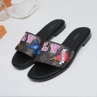 Louis Vuitton LV Women Fashion Heart Slipper Flats Shoes