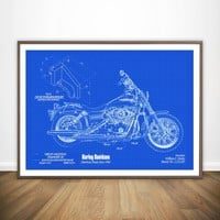 Harley Blueprint Wall Art Paint Wall Decor Canvas Prints Canvas Art Poster Oil Paintings No Frame