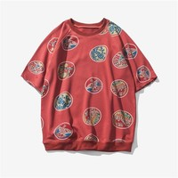 Short Sleeve Summer Round-neck Strong Character Print T-shirts [9790794307]