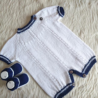 Newborn boy coming home outfit, newborn Baby Bloomers, baby shower outfit, knit baby romper, baby booties, baby boy romper, baby boy booties