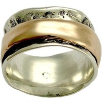 Wedding band Sterling silver with rose gold by artisanimpact