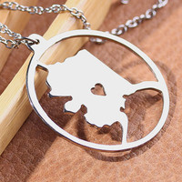 Alaska Necklace - 18K Gold plated Alaska Map Pendant - State Necklace -  Map necklace with circle - Can be made at any State