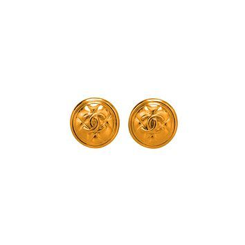 CC Large Quilted Clip-on Coin Earrings