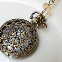 Spider Web Pocket Watch Necklace by CeciliaJewelry on Etsy