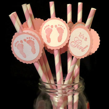 10 girl baby shower party straws, Its a girl pink and white striped drinking straws with pink baby feet, party supplies